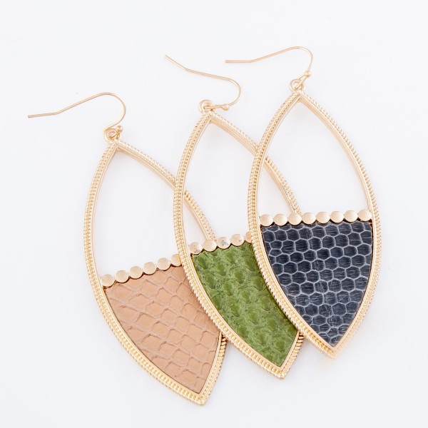 """Half Animal Print Statement Drop Earrings.  - Approximately 3"""" L"""