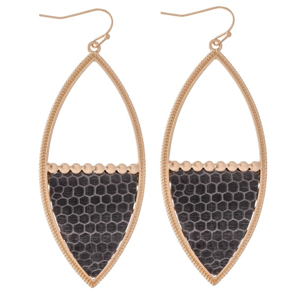 "Half Animal Print Statement Drop Earrings.  - Approximately 3"" L"