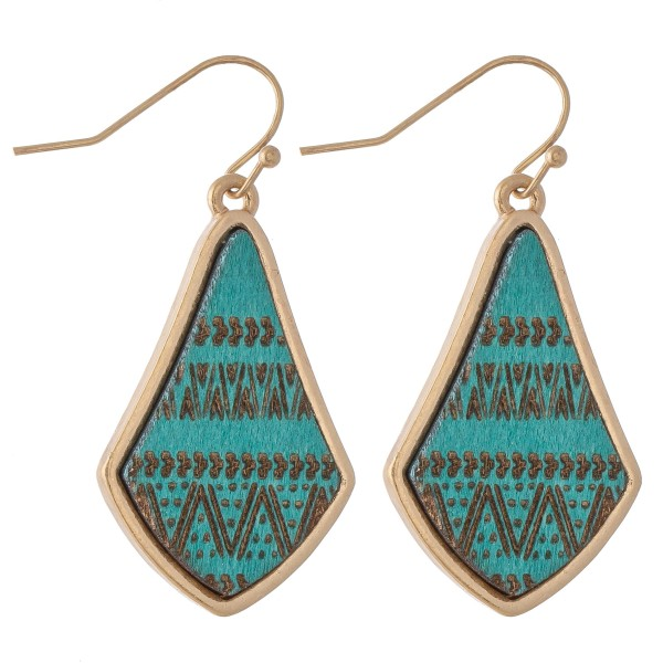 "Wooden Tribal Stamped Drop Earrings.  - Approximately 1.25"" L"