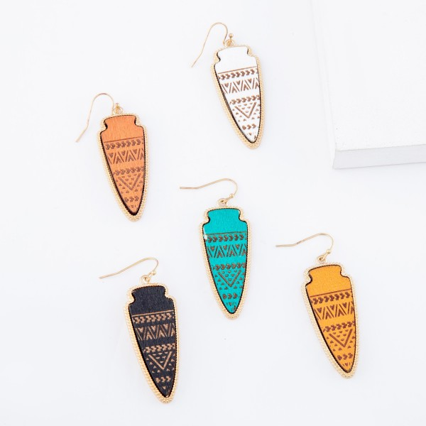 "Wooden Tribal Print Arrow Drop Earrings.  - Approximately 2"" L"