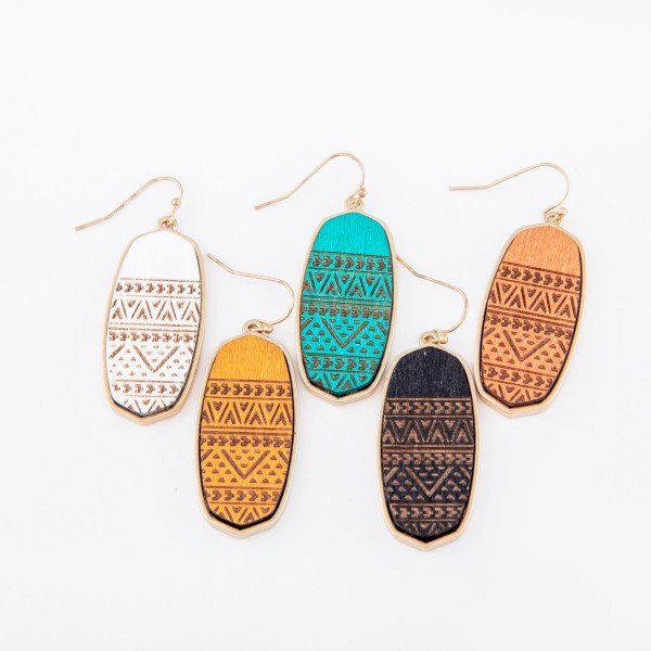 "Wooden Tribal Print Oblong Drop Earrings.  - Approximately 1.75"" L"