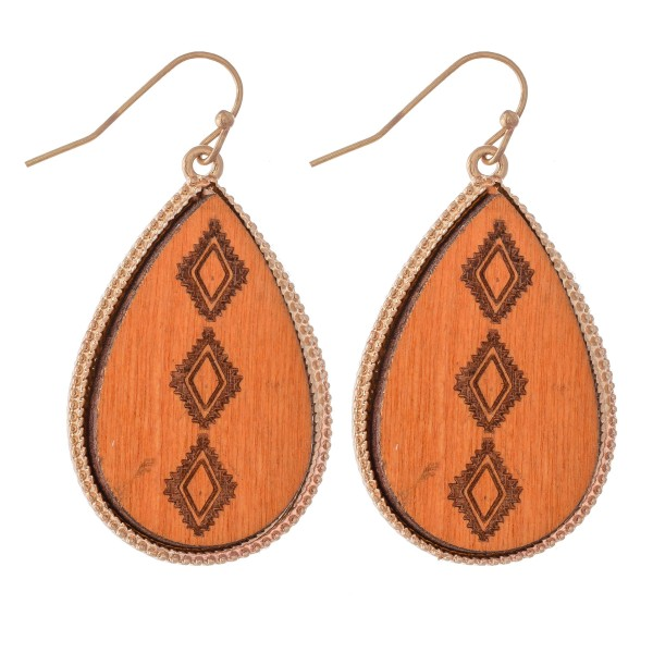 "Wooden Tribal Stamped Teardrop Earrings.  - Approximately 1.5"" L"