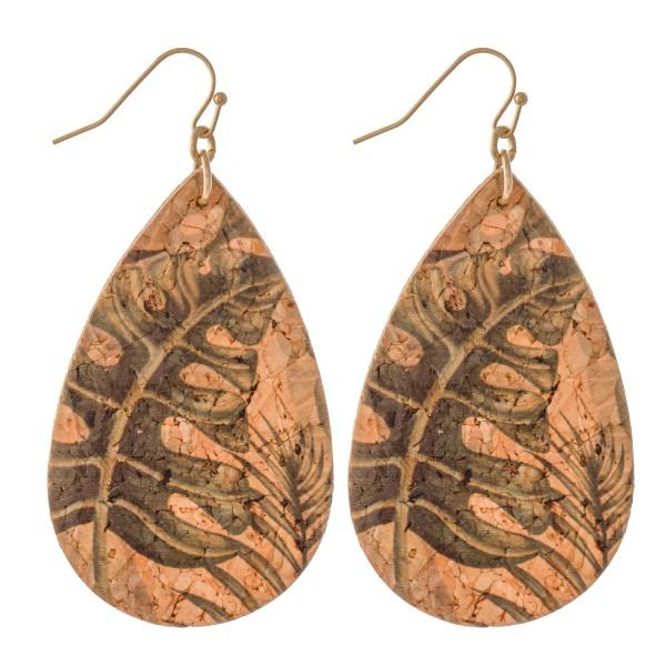 """Tropical Cork Teardrop Earrings.  - Approximately 3"""" L"""