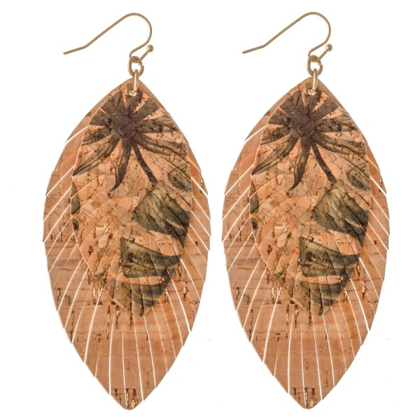 "Tropical Cork Feather Statement Earrings.  - Approximately 3"" L"