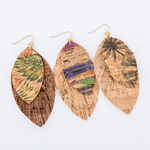 "Tropical Hibiscus Cork Feather Statement Earrings.  - Approximately 3"" L"