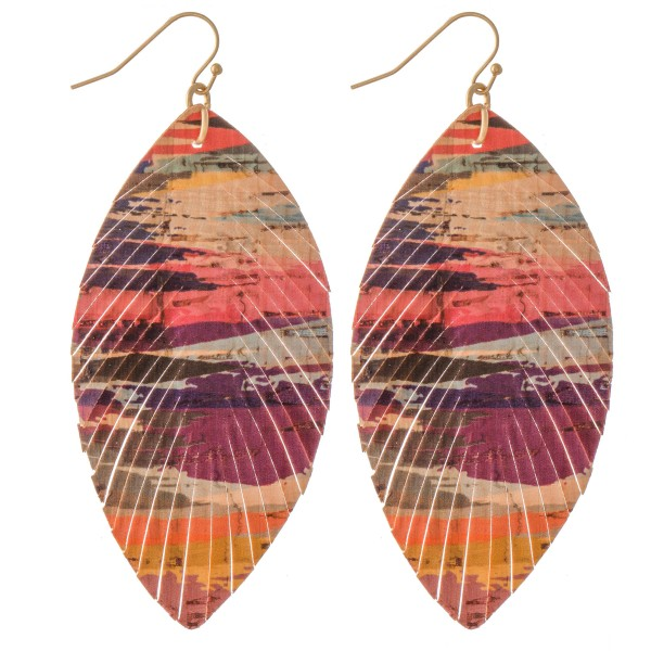"Serape Cork Feather Statement Earrings.  - Approximately 3"" L"