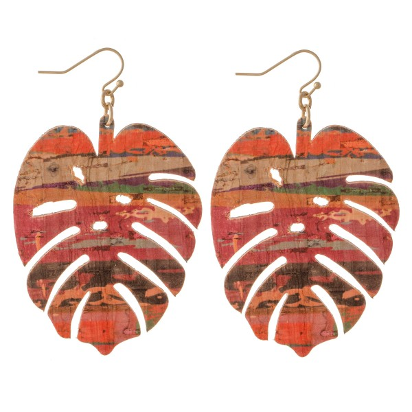 "Serape Cork Palm Leaf Statement Earrings.  - Approximately 3"" L"