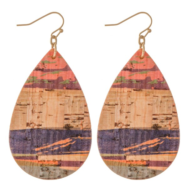 "Serape Cork Teardrop Earrings.  - Approximately 2.75"" L"