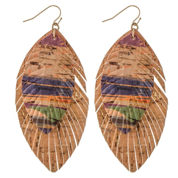 "Cork Serape Feather Statement Earrings.  - Approximately 3"" L"