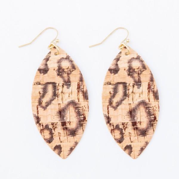 """Leopard Print Cork Drop Earrings.  - Approximately 3"""" L"""