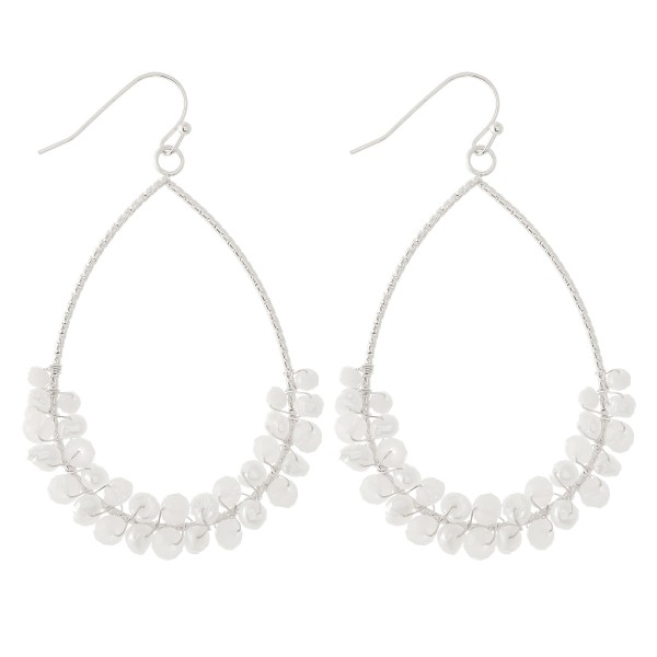 """Texturized Teardrop Earrings with Wire Wrapped Pearl Beading.  - Approximately 2.25"""" L"""