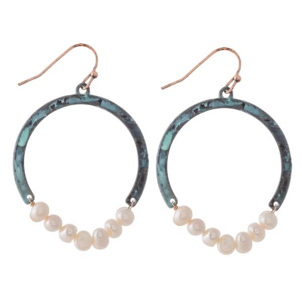 "Patina Tone Pearl Beaded Drop Earrings.  - Approximately 1.75"" L - 1.5"" in diameter"