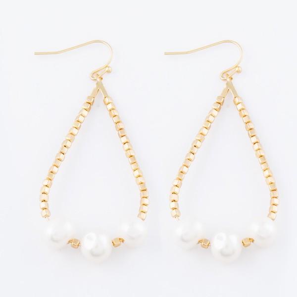 """Gold Beaded Pearl Teardrop Earrings.  - Approximately 2.5"""" L"""
