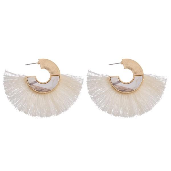 """Marble Hoop Statement Tassel Earrings.  - Approximately 2"""" L and 2.5"""" wide - Hoop Diameter 1"""""""
