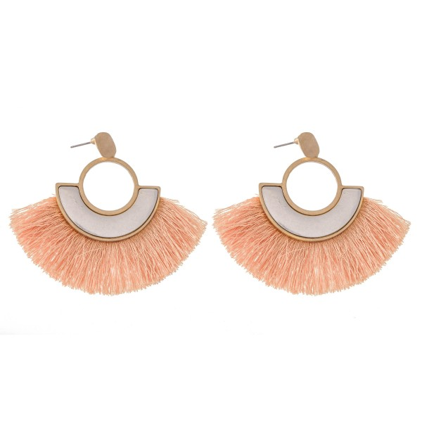"""Two Tone Modern Tassel Drop Earrings.  - Approximately 2.25"""" L"""