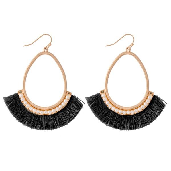 Wholesale gold Teardrop Pearl Beaded Tassel Earrings L