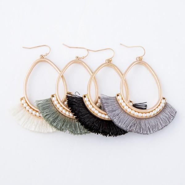 """Gold Teardrop Pearl Beaded Tassel Earrings.  - Approximately 2.75"""" L"""