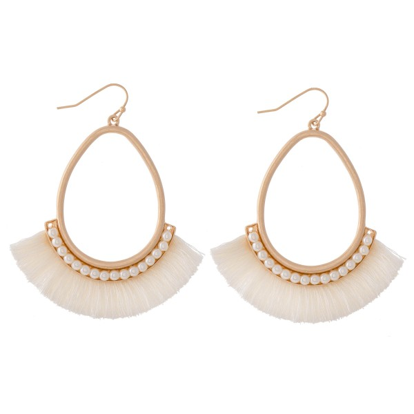 Wholesale gold Teardrop Pearl Beaded Tassel Earrings L