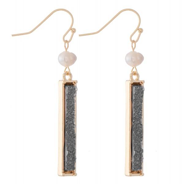 """Pearl Druzy Bar Drop Earrings.  - Approximately 2"""" L"""