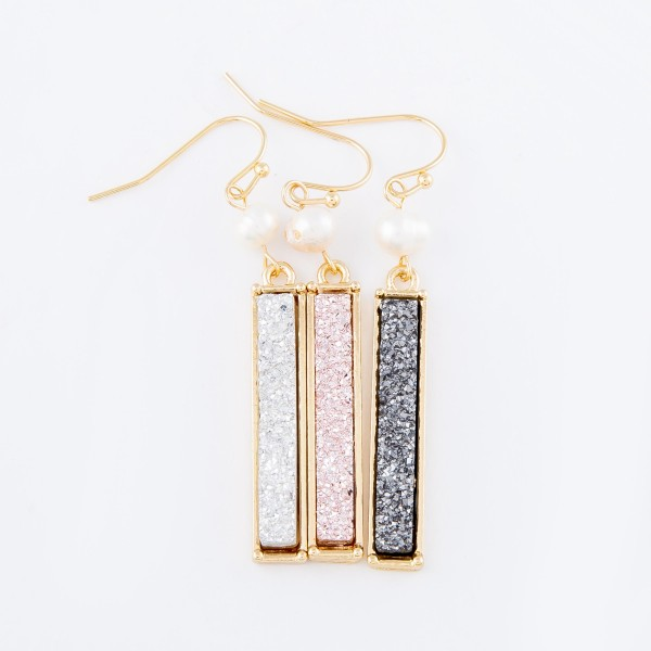 "Pearl Druzy Bar Drop Earrings.  - Approximately 2"" L"