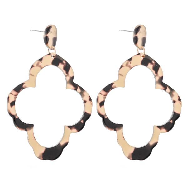 """Tortoise Shell Resin Quatrefoil Statement Earrings.  - Approximately 2.75"""" L"""