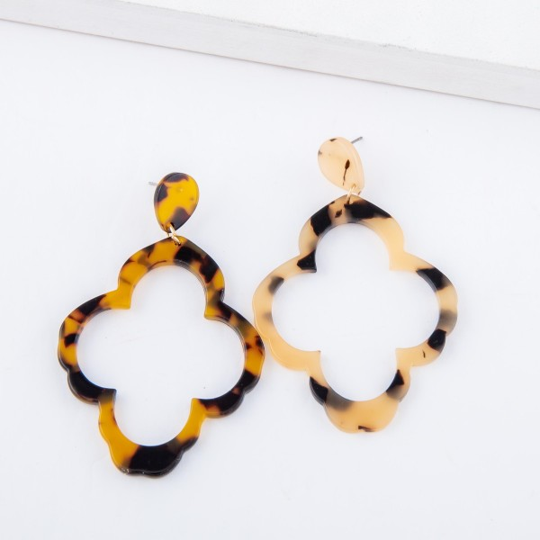 "Tortoise Shell Resin Quatrefoil Statement Earrings.  - Approximately 2.75"" L"
