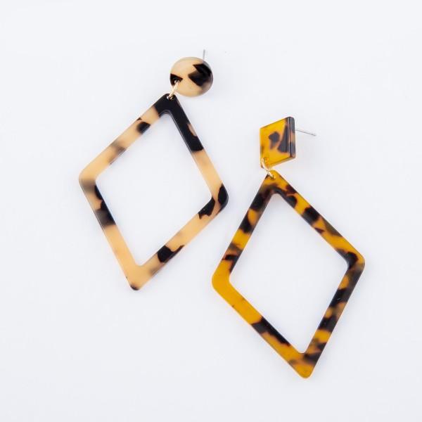 "Tortoise Shell Rhombus Cut Statement Earrings.  - Approximately 3"" L"