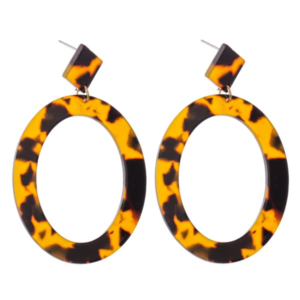"Tortoise Shell Resin Oval Statement Earrings.  - Approximately 2.75"" L"
