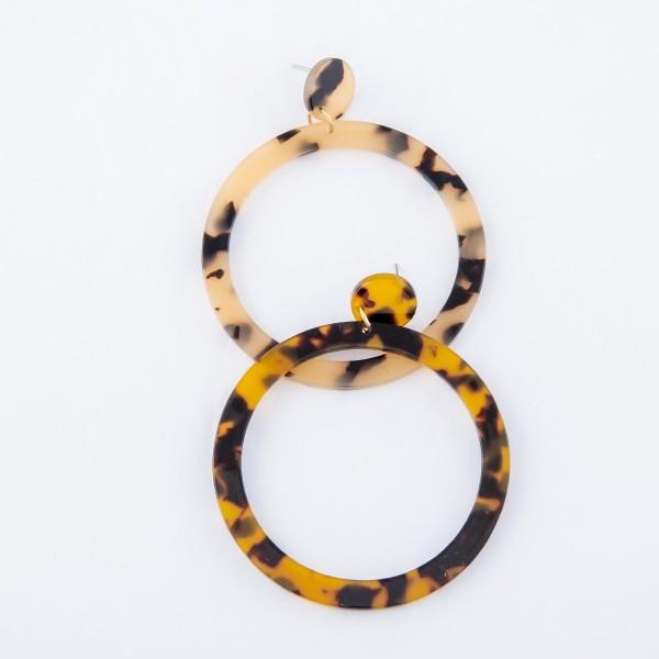 "Round Tortoise Shell Resin Statement Earrings.  - Approximately 2.75"" L - 2.25"" in diameter"