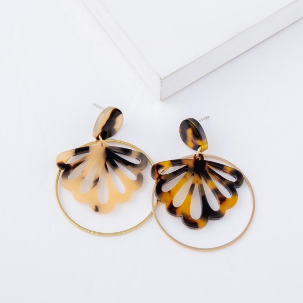 """Tortoise Shell Resin Flower Nested Drop Earrings.  - Approximately 2"""" L - 1.5"""" in diameter"""