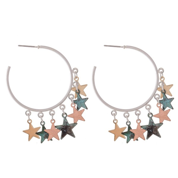 "Patina Multi Tone Star Dangle Hoop Earrings.  - Approximately 1.5"" in diameter"