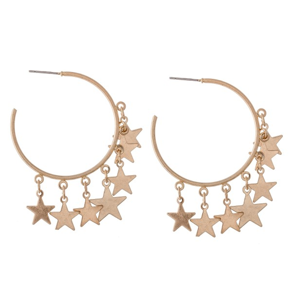 Wholesale gold Star Dangle Hoop Earrings diameter