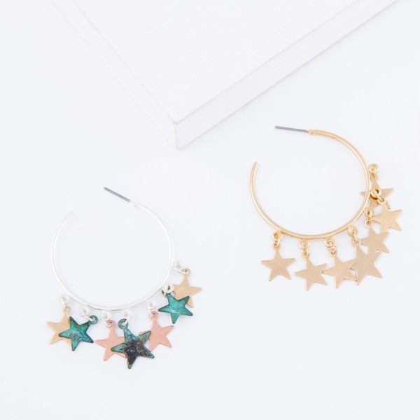 "Gold Tone Star Dangle Hoop Earrings.  - Approximately 1.5"" in diameter"