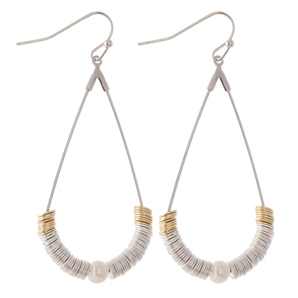 "Two Tone Metal Spacer Beaded Pearl Teardrop Earrings.  - Approximately 2.25"" L"