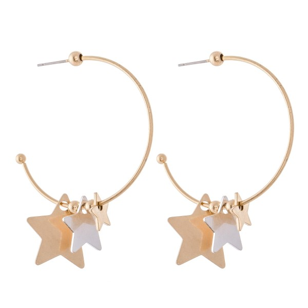 "Two Tone Stepping Stars Hoop Earrings.  - Approximately 1.5"" in diameter"