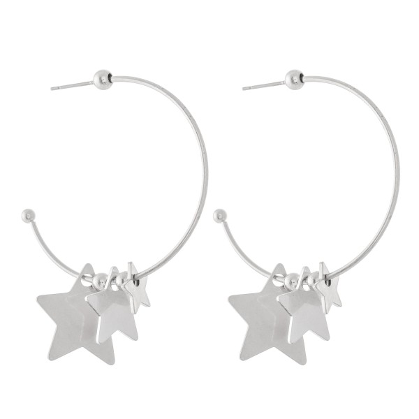 "Stepping Stars Hoop Earrings.  - Approximately 1.5"" in diameter"