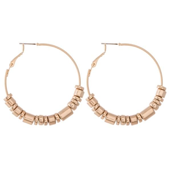 """Metal Tone Beaded Hoop Earrings.  - Approximately 2"""" in diameter"""