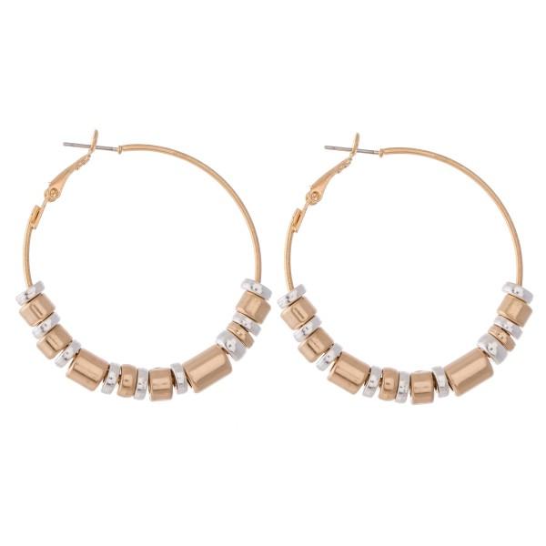 """Two Tone Beaded Hoop Earrings.  - Approximately 2"""" in diameter"""
