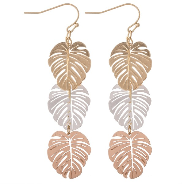 "Multi Metal Tone Filigree Palm Linked Drop Earrings.  - Approximately 3"" L"