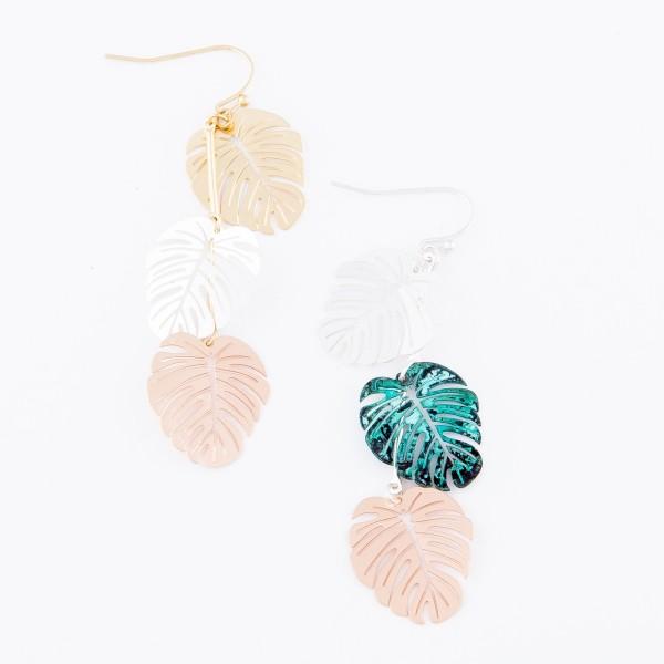 "Patina Multi Tone Filigree Palm Linked Drop Earrings.  - Approximately 3"" L"