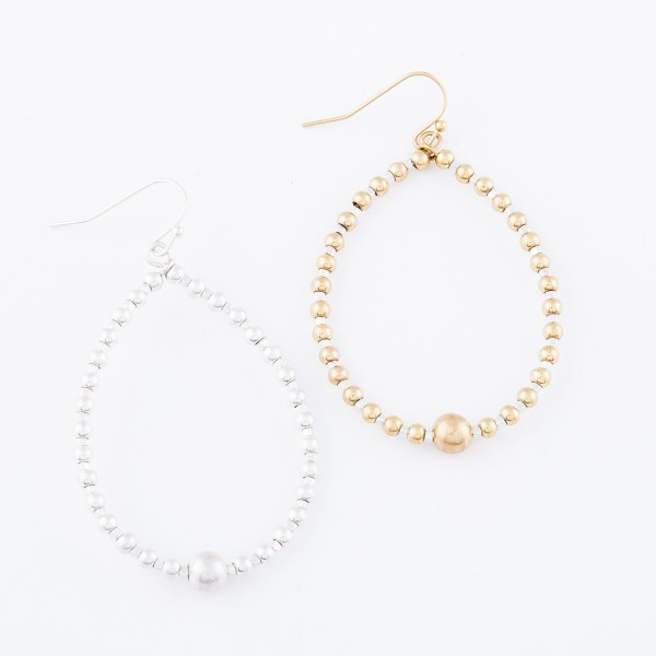 """Silver Tone Beaded Teardrop Earrings with Bead Accent.  - Approximately 2.25"""" L"""