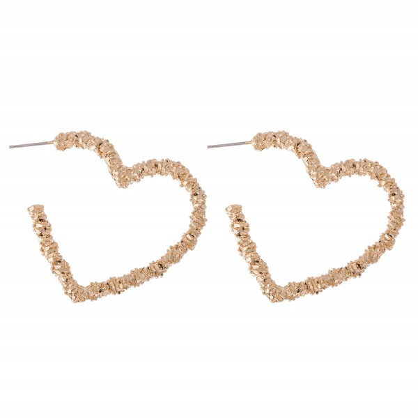 Gold Nugget Textured Heart Hoop Earrings.  - Approximately 1.5""
