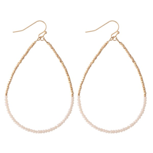 "Half & Half Dainty Beaded Teardrop Earrings.  - Approximately 2.75"" L"