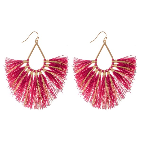 "Metallic Stripe Fringe Tassel Statement Teardrop Earrings.  - Approximately 4"" L"