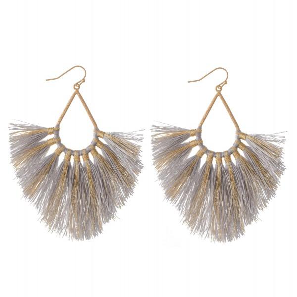 """Metallic Stripe Fringe Tassel Statement Teardrop Earrings.  - Approximately 4"""" L"""