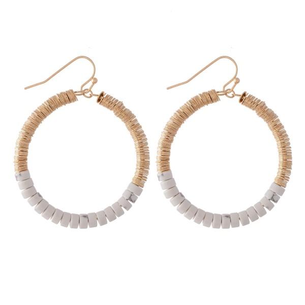 "Natural Stone Heishi Beaded Drop Earrings.  - Approximately 2"" L  - 1.5"" in diameter"