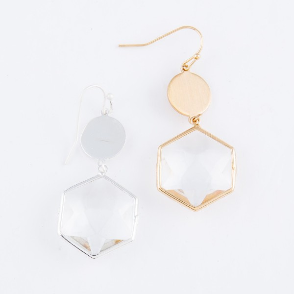 """Crystal Clear Hexagon Drop Earrings.  - Approximately 2"""" L"""