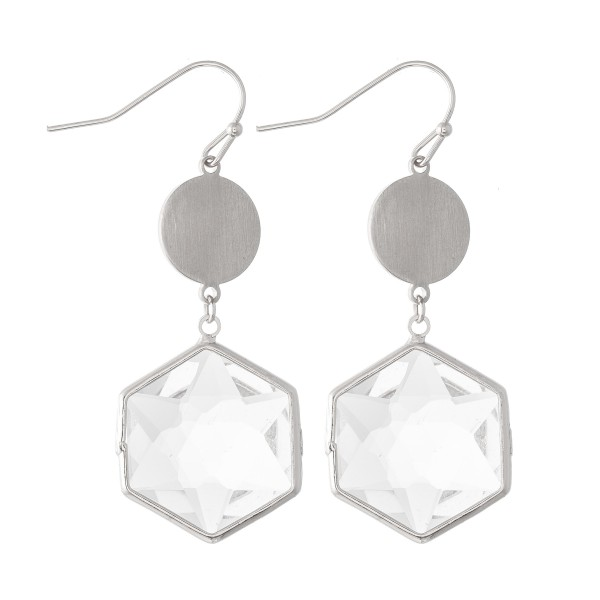 "Crystal Clear Hexagon Drop Earrings.  - Approximately 2"" L"
