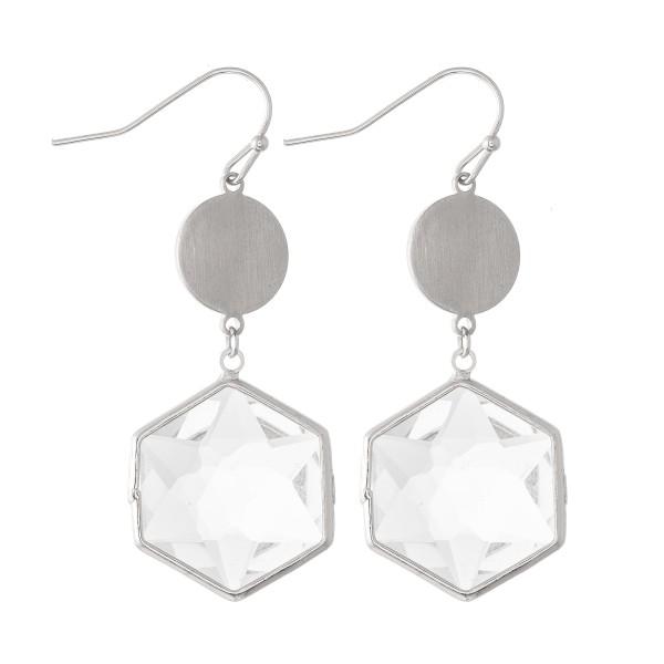 Wholesale crystal Clear Hexagon Drop Earrings L