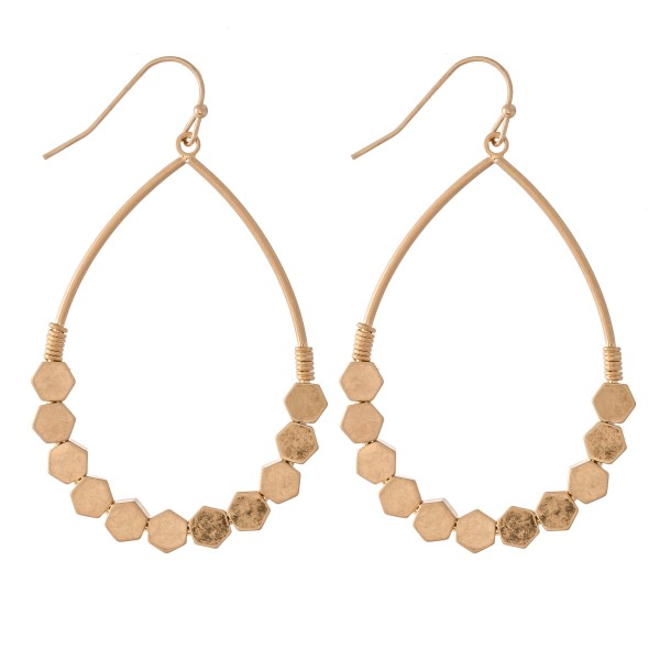 "Honeycomb Teardrop Earrings.  - Approximately 2.25"" L"